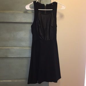 Black, cocktail dress, with pleather front piece